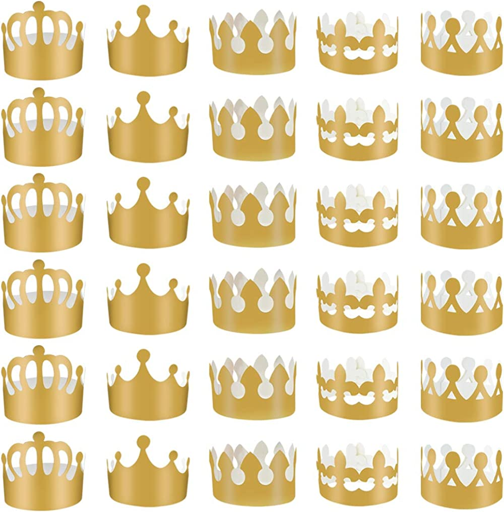 30 Pieces Gold Paper Party Crowns, obmwang Adjustable Gold Foil Crowns Paper Party Hat for Baby Shower Photo Props Birthday Party Celebration, 5 Styles