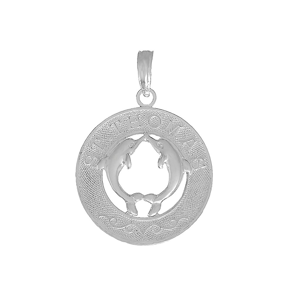 925 Sterling Silver Travel Charm Pendant Dolphins In Center St Thomas