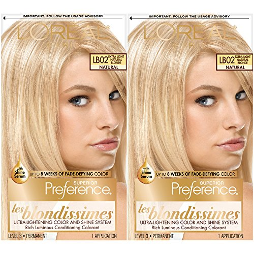 L'Oréal Paris Superior Preference Fade-Defying + Shine Permanent Hair Color, Extra Light Natural Blonde, 2 COUNT Hair Dye
