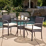 Great Deal Furniture Meeker Outdoor 3-Piece Wicker Bistro Set with Cushions