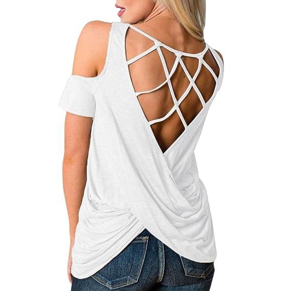 ❤ Camisas Mujer, Longra ☆ Moda Para Mujer Fuera del Hombro o-Cuello Sólido de Manga Corta Ahueca Hacia Fuera la Blusa de la Camisa Ocasional: Amazon.es: ...