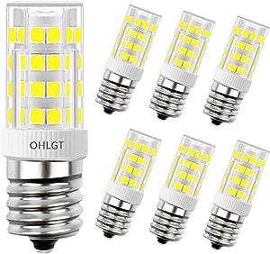 OHLGT E17 LED Bulb for Microwave Oven Appliance, Daylight White 6000K, 4 Watt (40W Halogen Bulb Equivalent), 350LM, Pack of 6