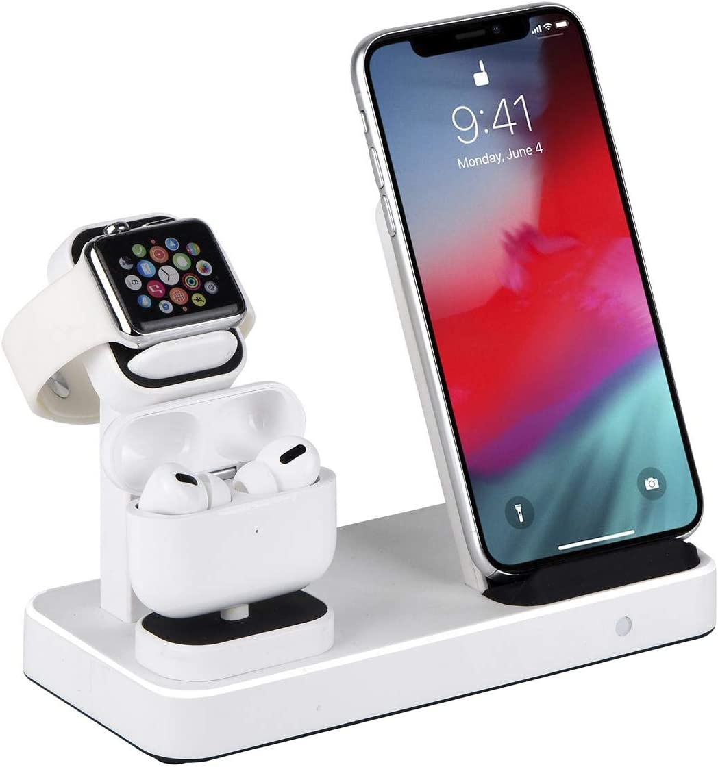 SENZLE for Wireless Charging Apple Watch Charger,3in1 Cable Built-in for iPhone/iWatch 6/5/AirPods Pro/2/1,Wireless Charger Charging Stand Dock Station for iPhone 12 Pro Max/11/XS/X (White)