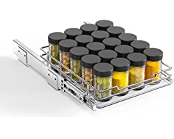 """Pull Out Spice Rack Organizer for Cabinet - 9.5""""Wx10.2""""Dx2.8""""H, AHNR Heavy Duty 8"""" Single Slide Out Spice Rack for Upper Kitc"""