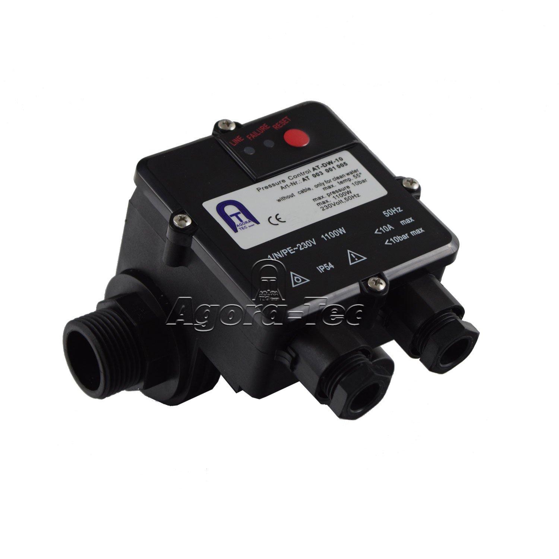 Agora-Tec AT003001005 AT-DW-10 Pressostat pour pompe sans câble pour la commande de pompes centrifuges et immergées Pression de fonctionnement 10bar