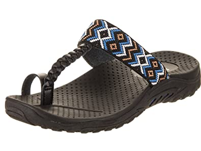 2f9018fc8286 Skechers Women s Reggae-up Bead-Ethnic Woven Toe Thong Slide Sandal ...