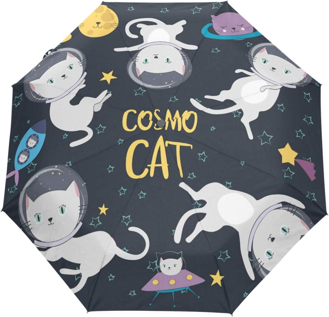 Auto Open Close Compact 46 Inch Rain Umbrella for Men Women Cats In Space Travel Umbrella Automatic Folding Umbrella
