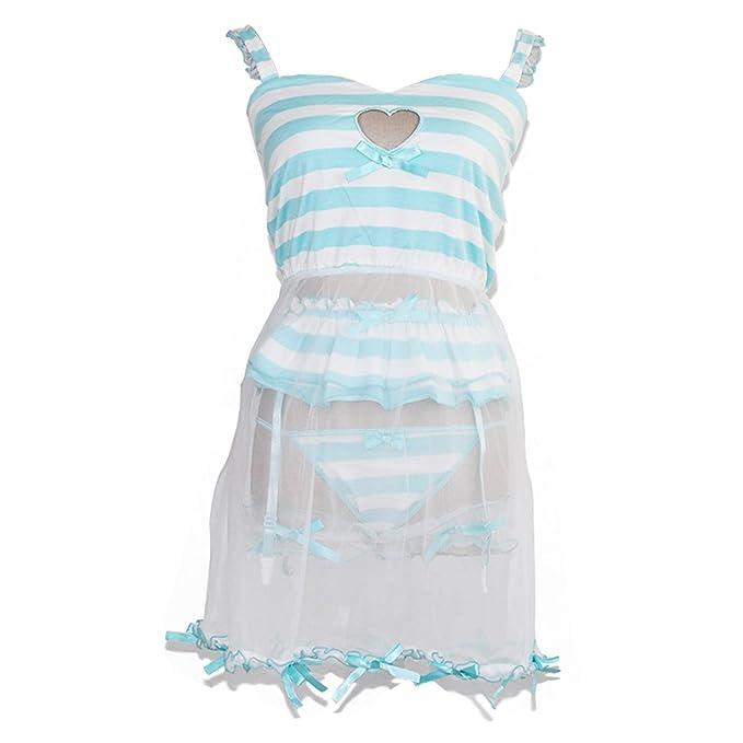 Himifashion - Pijama - para Mujer Blanco Azul M