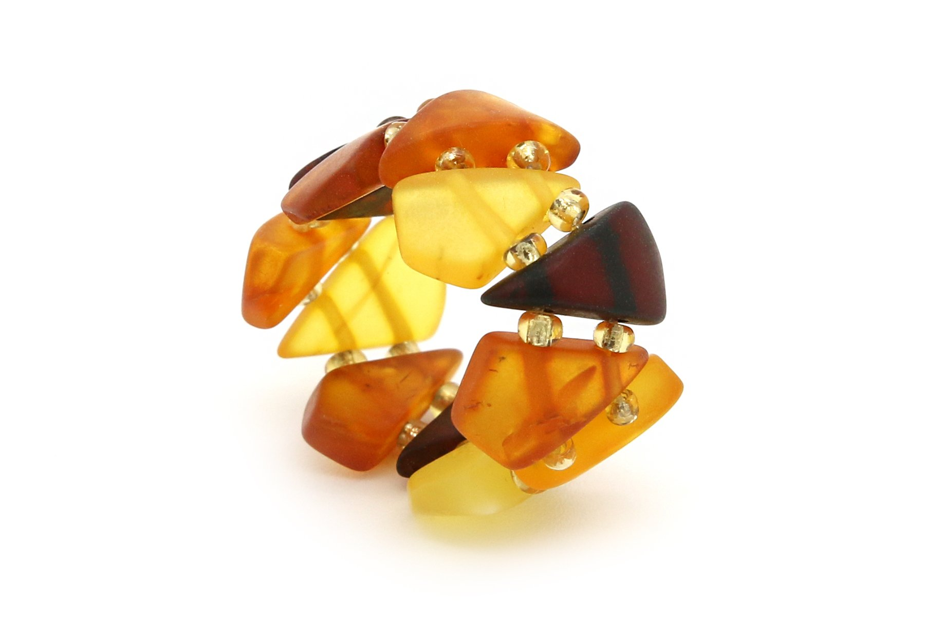 Genuine Natural Baltic Multicolored Amber Adjustable Stretch Ring for Women