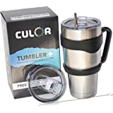 30 Oz Stainless Steel Tumbler With Straw, Handle & 2 SpillProof Lids. CULOR 30oz Insulated Water Cup. Perfect Gift Box included