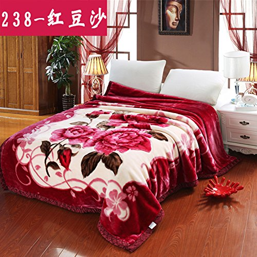Double thick Soft fleece blanket blanket encryption is not hair does not play ball blanket thick autumn and winter double bunk ,150x200cm (5 pounds) Double thick red ? ,238- by Znzbzt