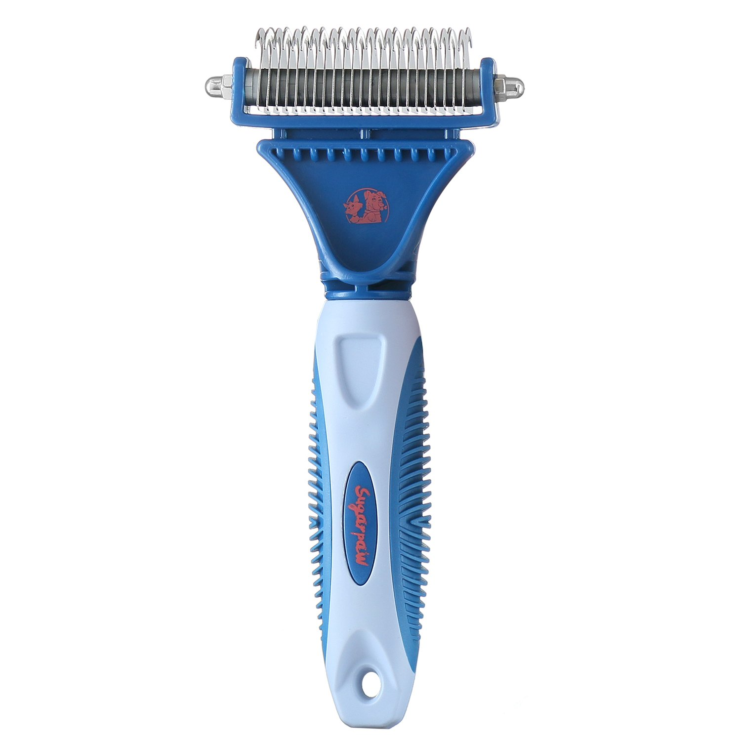 Sugarpaw Dual Dematting Professional Grooming Rake Comb For Dogs And Cats - 2 Sided Pet Detangler Tool - Matted Fur Remover - For Painless Removal Of Knots, Tangles & Mats
