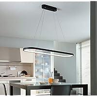 Modern Acrylic LED Chandelier Black Rounded Rectangle Island Pendant Lamp Energy-Saving Pendant Light for Office Living Room Bedroom