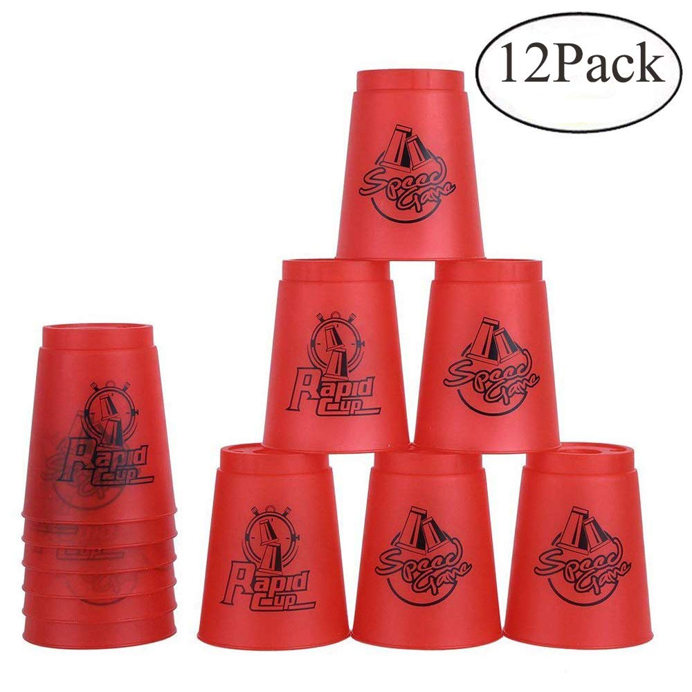 Bestie-Gear Quick Stacks Cups, Sports Stacking Cups Speed Training Set of 12 with Carry Bag(Red)