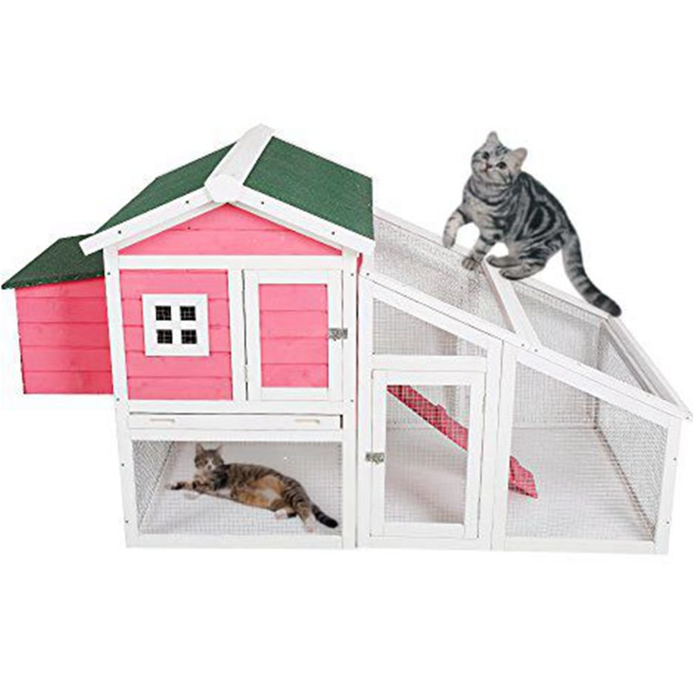 Livebest Cute Pet Cage Rabbit Hutch Cat House Large Space Indoor Mesh Wire Wooden Pink Small Animals Shelter For Bunny Kitty