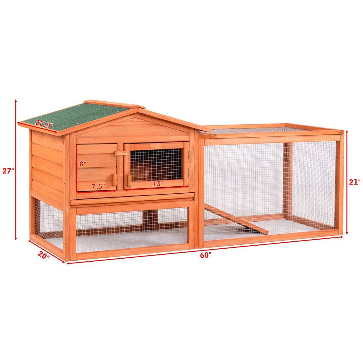 Tangkula Chicken Coop Outdoor Wooden Chicken Coop Garden Backyard Farm Bunny Hen House Rabbit Hutch Small Animal Cage Pet Supplies for Chicken, Duck, Rabbit, etc (61.5'' x 20.5'' x 27''(L x W x H)) by Tangkula (Image #2)