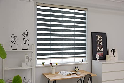 Springblinds Premium Zebra Corded Roller Shade – Woodlook Fabric with Cassette -Custom