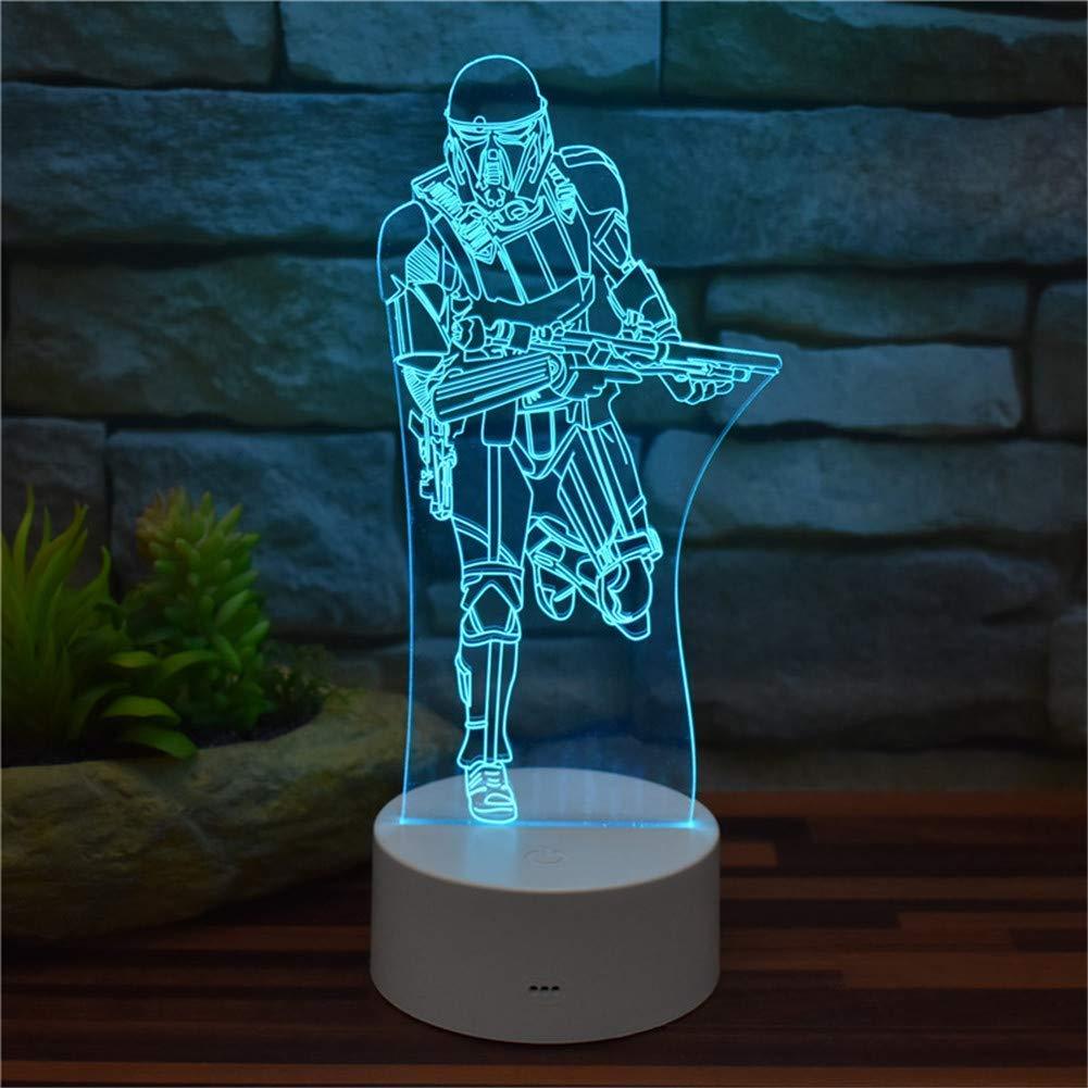 Umgebungslicht, Star Wars 3D Illusion Nachtlicht Reich Stormtrooper Acryl LED Vision Licht Fernbedienung 16 Farbwechsel mit USB-Kabel   ABS Basis Kreatives Modell Kinderspielzeug Geschenke Home Decor