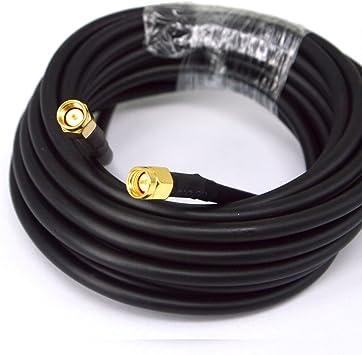 BOOBRIE - Cable SMA RG58 de baja pérdida, cable de extensión SMA macho a SMA macho cable coaxial RG58 5M para antena 3G / 4G / LTE/GPS/RF/antena ...