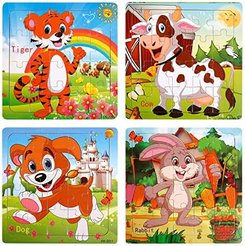 Toddler puzzles Wooden Jigsaw Puzzles for Toddlers 1 2 3 Years Old 20 Piece Animals Colorful Wooden Puzzles for Toddler Children Learning Educational Toddler Toys for Boys and Girls (4 Puzzles)