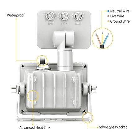 10w Foco led exterior con Sensor Movimiento ,Led Proyector para Exterior Iluminación Decoración alto brillo 1000lm IP 65 ,6000K blanco frío, ...