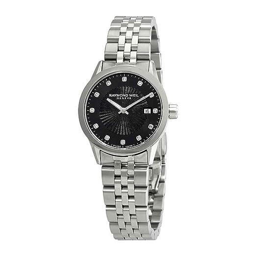Raymond Weil Freelancer 5629-ST-20081 - Reloj para Mujer, Esfera Negra con Diamante: Amazon.es: Relojes