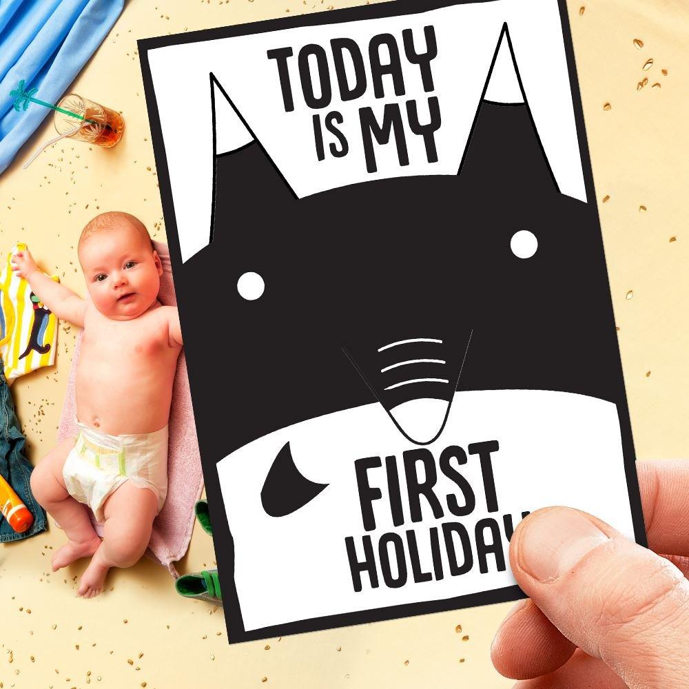 Baby Milestone Cards Funny Shower Christening Gift Newborn Unisex B/&W