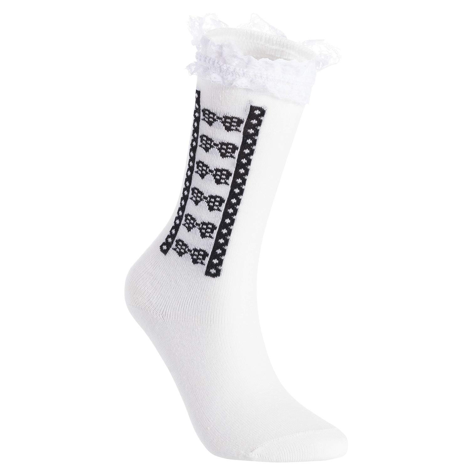 2Y-10Y Lian LifeStyle Girls 8 Pairs Pack Laced Knee High Cotton Socks 2 Sizes