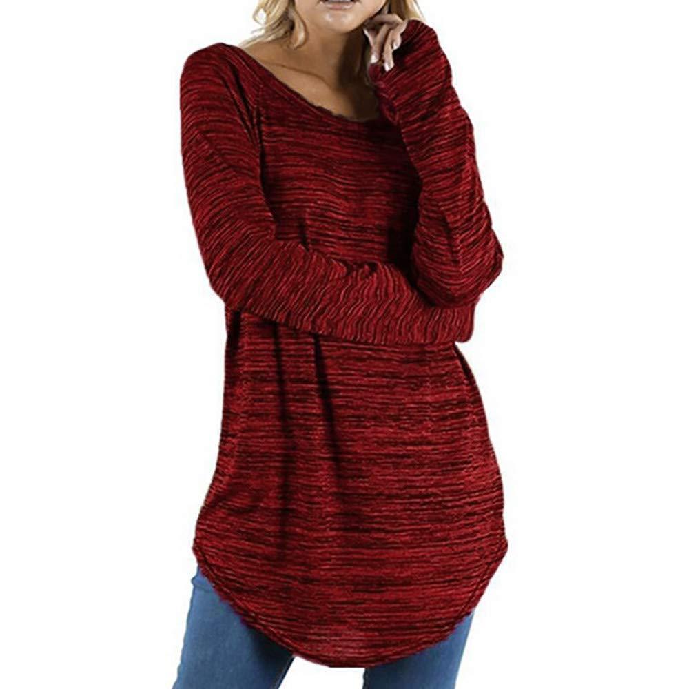 HebeTop Women's Casual Long Sleeve Round Neck Solid Color Pullover Sweatshirt Fuzzy Fleece Coat Tops Wine Red by HebeTop➟Women's Clothing