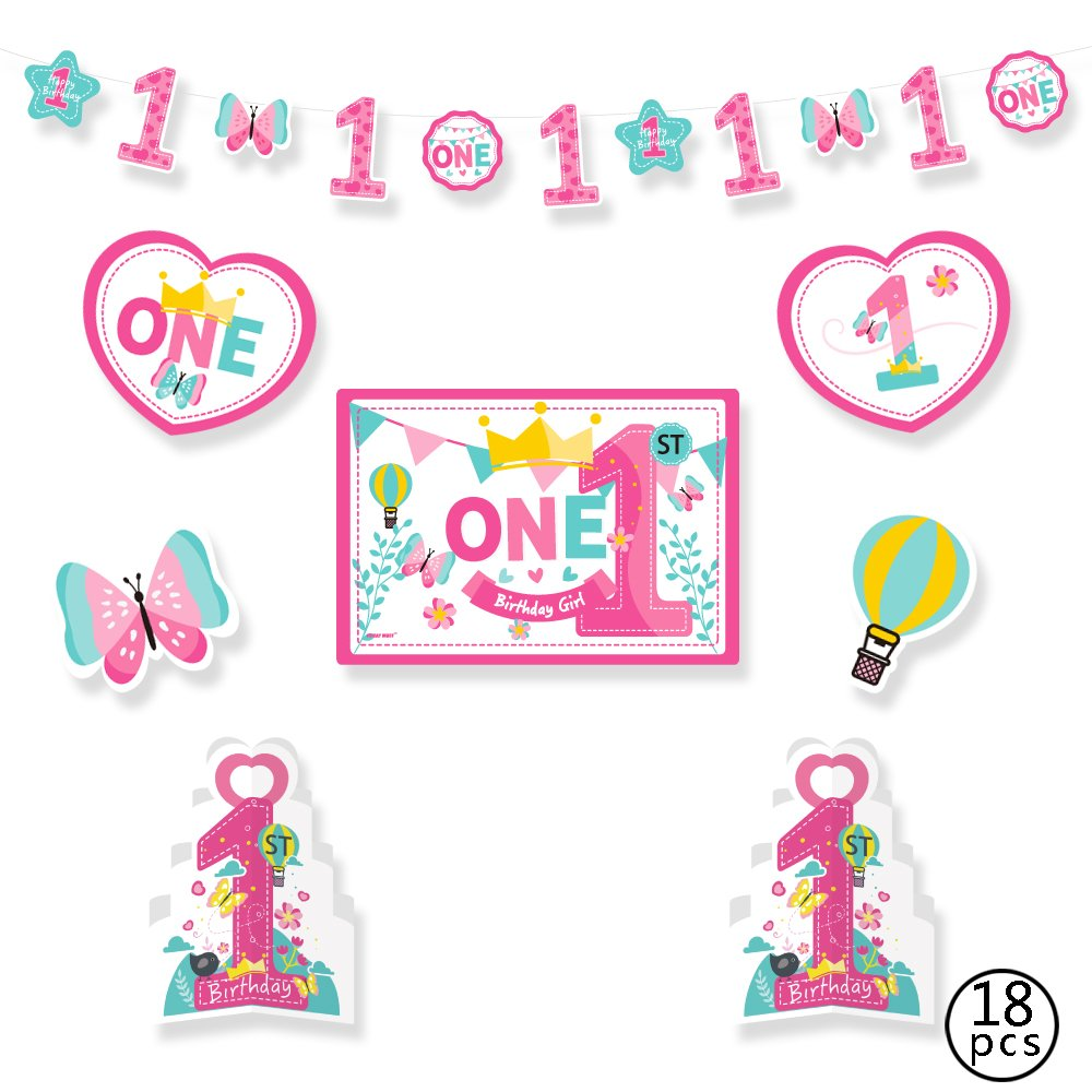 1st Birthday Girl Decorations Kit - Pink 1st Butterfly and Number One Star Banner - Large Animal Lion, Toy Card Stock Cutouts - Multi Colored, Pink, 18-Piece