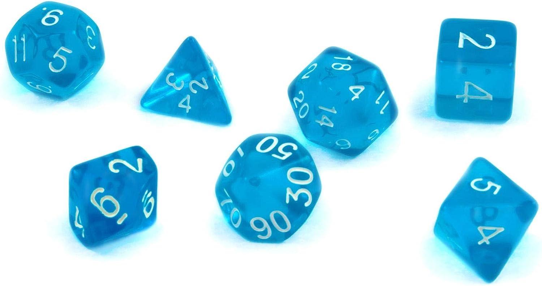 shibby 7 Dados poliédricos en Transparente Azul para Juegos de rol y Mesa, Incluye Bolsa: Amazon.es: Juguetes y juegos