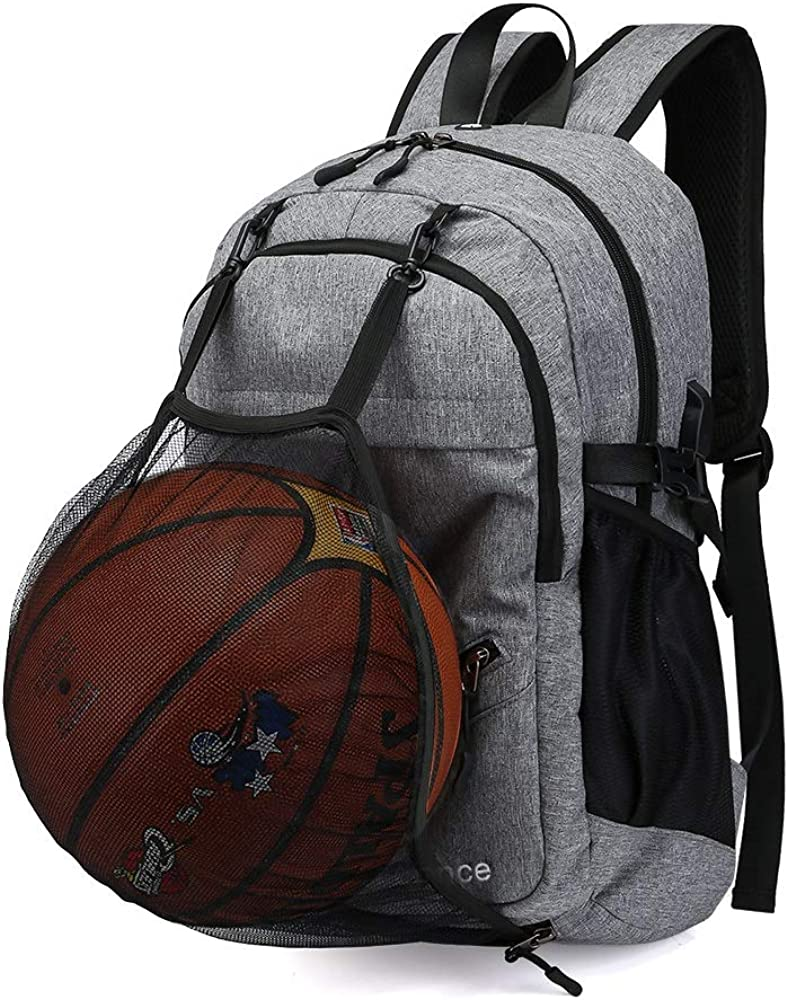 Image result for Basketball Backpack with USB Charging Port, Durable Men's Backpack for Outdoor with Ball Compartment (Fits 15.6 Inch Laptop)