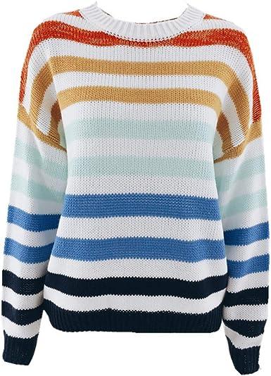 Blusa de Rayas arcoíris para Mujer Suéter de Punto con Cuello Redondo Suelto Camisa de Manga Larga Blusa Informal Suéter Superior: Amazon.es: Ropa y accesorios