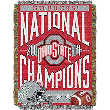 NCAA Ohio State Buckeyes 2014 College Football Playoff National Champions Tapestry Throw Bed, 48x60-Inch, Red