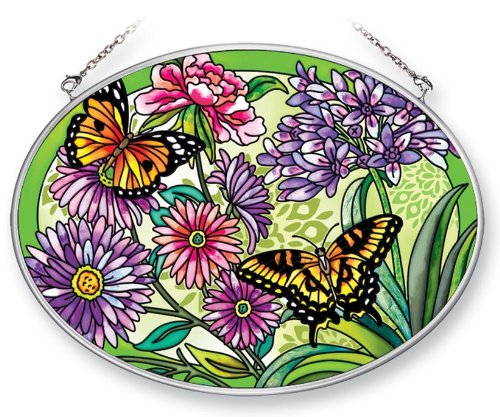 Amia 41374 Meadow Garden with Butterflies 7 by 5-1/2-Inch Oval Sun Catcher, Medium