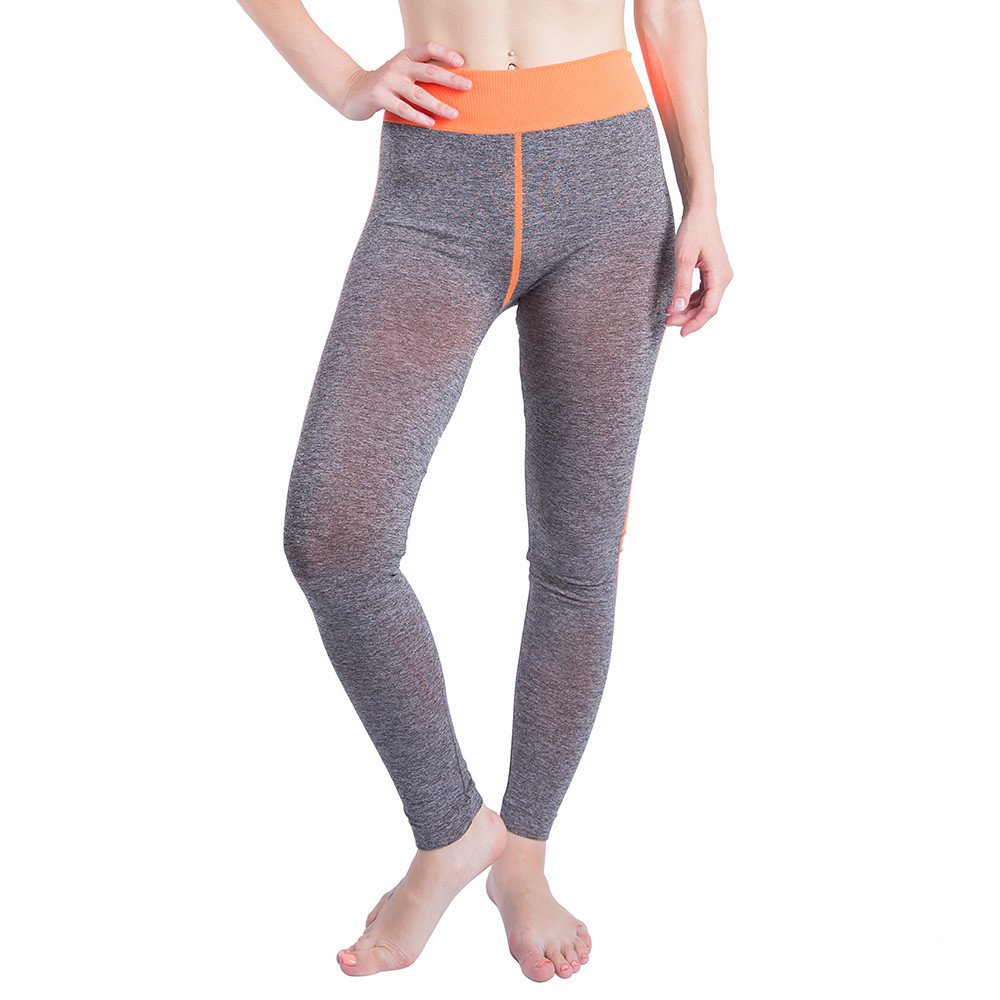 iLUGU Women Gym Yoga Patchwork Sports Running Fitness Leggings Pants Athletic Trouser