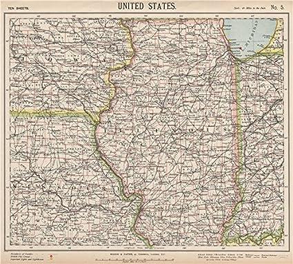 Map Of Iowa And Illinois Amazon.com: US MIDWEST. Missouri Illinois Indiana Iowa Chicago