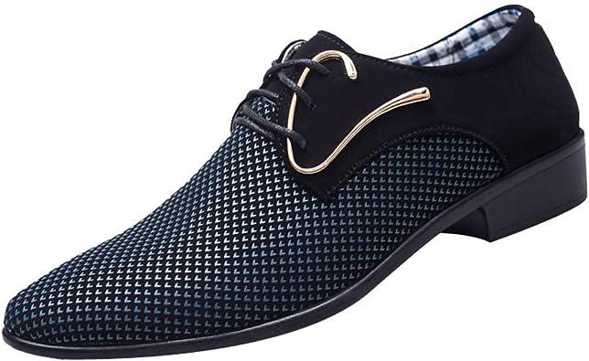 Longra Scarpe Stringate Uomo per Affari Derby Elegante Basso Oxford Mocassini Uomo Eleganti Scarpe da Lavoro Scarpe in Pelle per Business Matrimonio