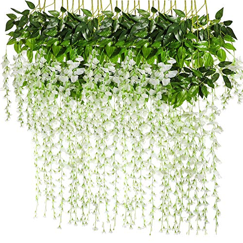 BJH 12 Pack 3.6 Feet/Piece Artificial Fake Wisteria Vine Ratta Hanging Garland Silk Flowers String Home Party Wedding Décor