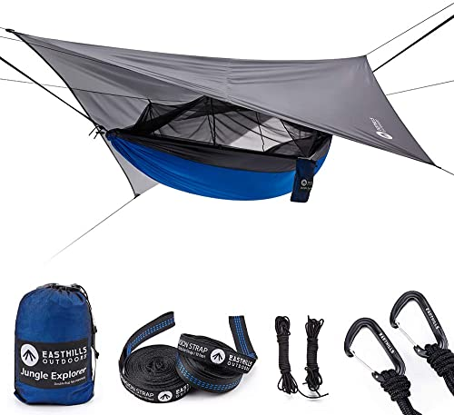 Easthills Outdoors Jungle Explorer Double Bug Net Camping Hammock Ripstop Parachute Nylon Camping Outdoor Hammocks Tent with Waterproof Rainfly Tarp Blue