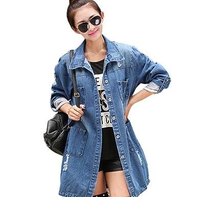a06b7fb6f1a287 Women's Clothing Casual High Street Denim Jacket Long Loose Holes Women  Jacket Outwear L