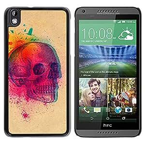 GOODTHINGS Funda Imagen Diseño Carcasa Tapa Trasera Negro Cover Skin Case para HTC DESIRE 816 - colorido explosión cráneo mariposa cráneo