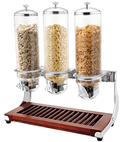 YSCCSY Dispensador Seco del Cereal del Alimento 4L * 3 Base De Madera Dispensador De Alimento