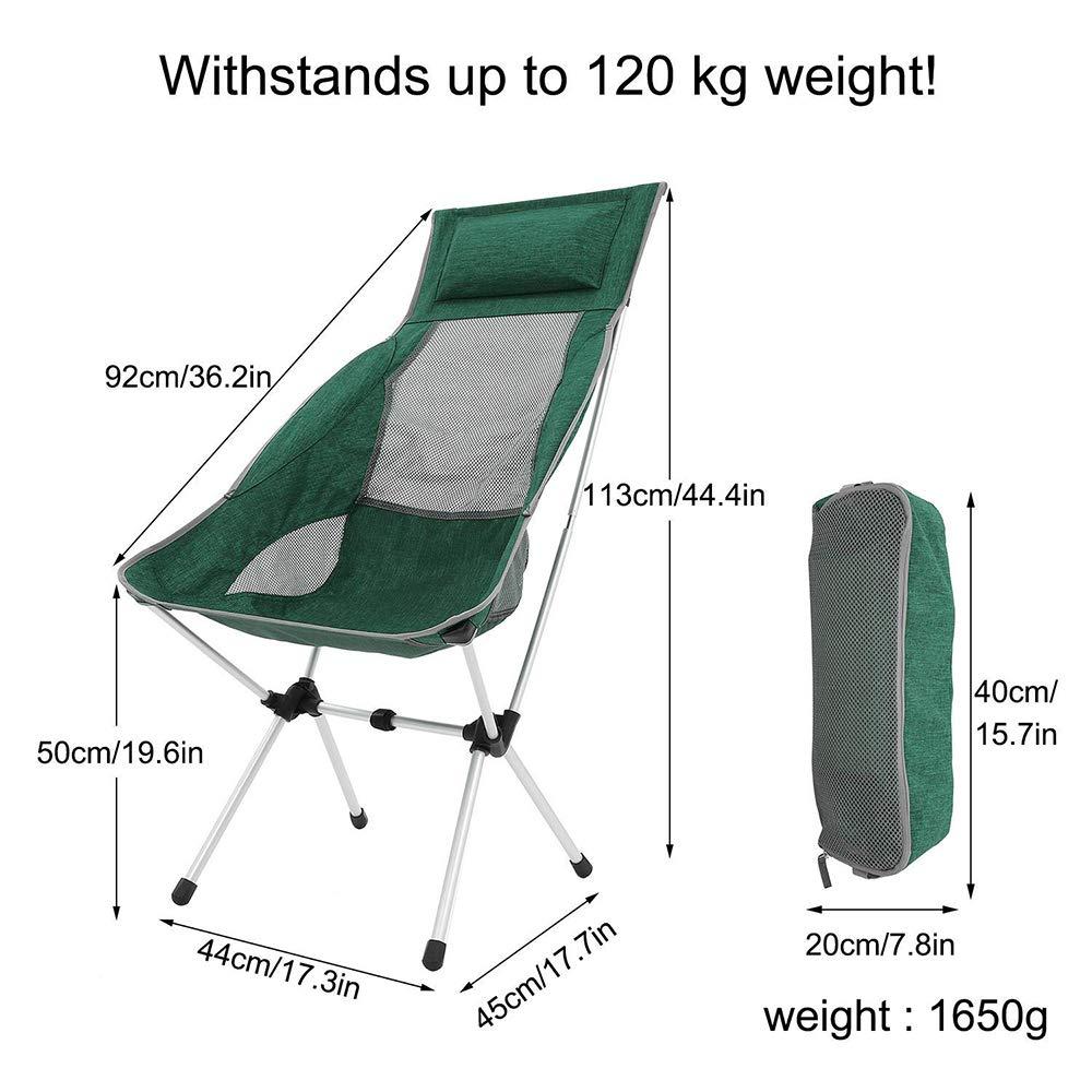 U-HOME Silla de Camping Plegable, Aluminio Ultraligero Sillas Plegables con Bolsa de Transporte Silla de Camping Plegable para Mochila, Senderismo, ...