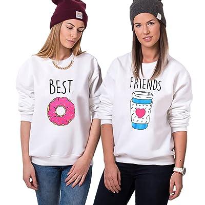 meilleure sélection de qualité incroyable une grande variété de modèles JWBBU Sweatshirt Motif Femme Best Friends Pull pour 2 Fille ...
