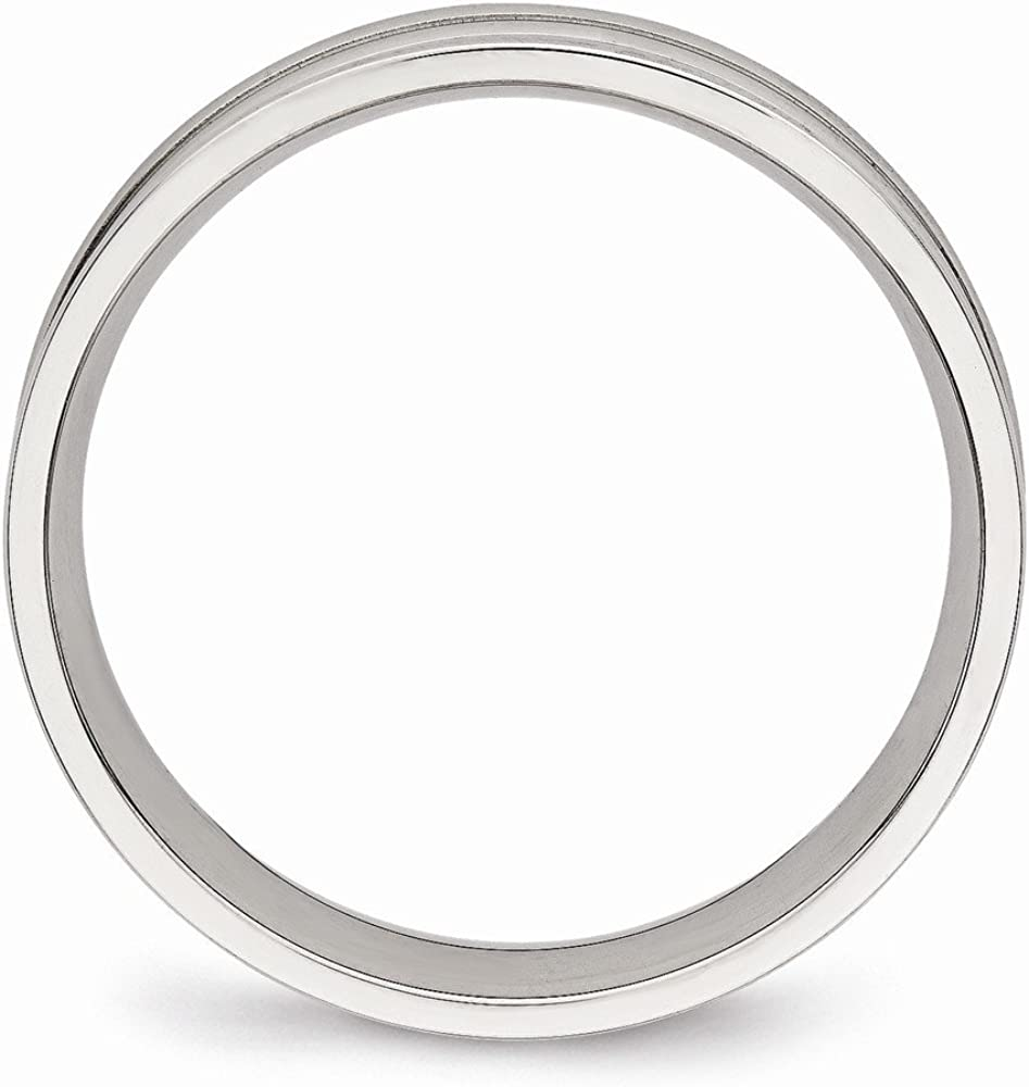 Stainless Steel Polished Ridged 5.00mm Band Size 8.5 Length Width 5