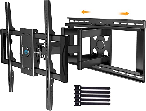 Sliding TV Mount Full Motion for TV Centering – Fits 37-75 Inch Flat Curved TVs up to 132 lbs, Max VESA 600x400mm – Universal TV Mount Fits 16-24 Studs or Spacing, Extends 23.82 Inch by PERLESMITH