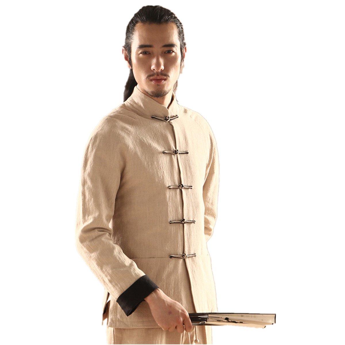 WEISAN Mens Stand Collar Japan Tang Suit Cotton Linen Kung Fu Meditation Costume