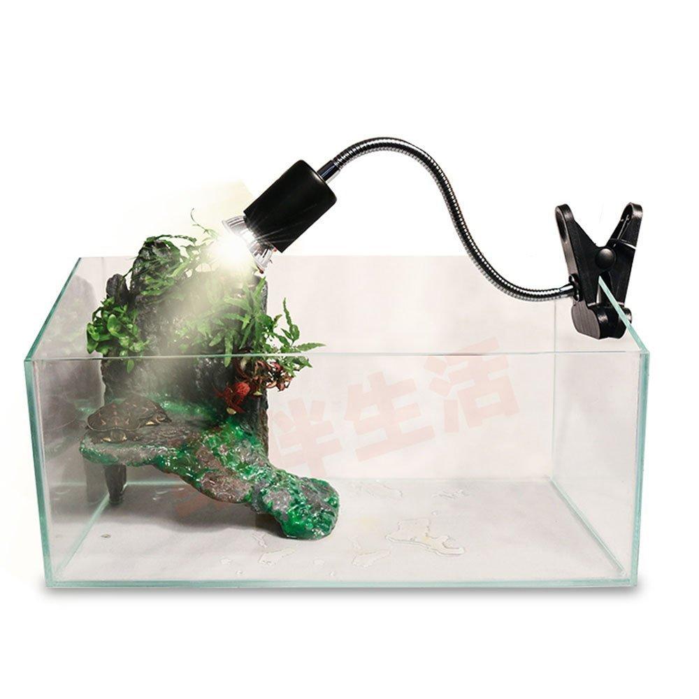 UVA UVB Light Bulb Reptile Ceramic Heat Lamp Pet Heating Bulb Holder Clamp Lamp Fixture Heating Light Lamp for Reptiles,Aquarium Reptile Light Adjustable Habitat Lighting Stand,110V-130V(Black)
