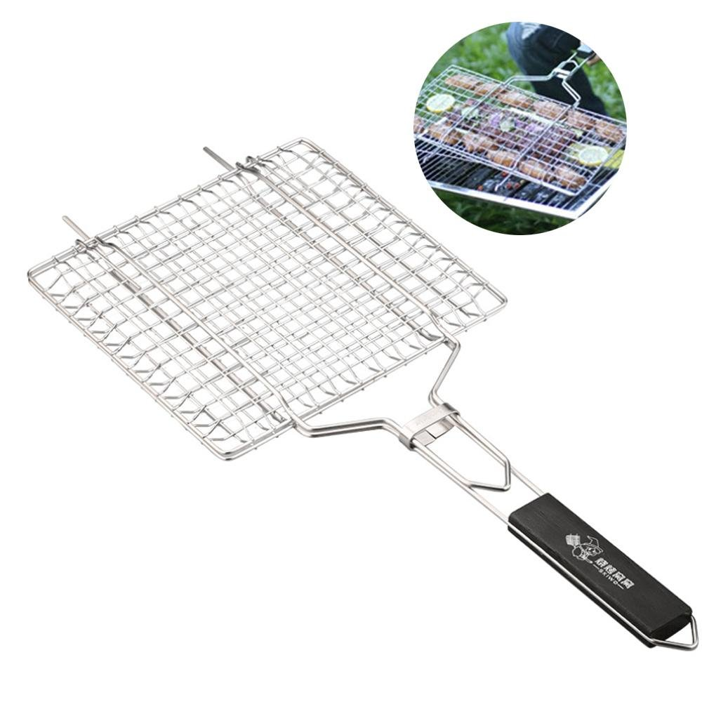 KOBWA BBQ Grilling Basket,Portable Stainless Steel BBQ Barbecue Grilling Basket for Fish,Vegetables, Steak,Shrimp, Chops and Many Other Food